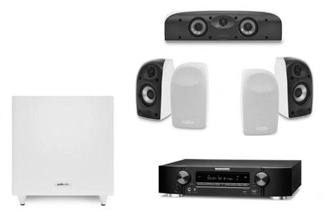 Polk Audio and Marantz 5.1 surround speaker system - White/black