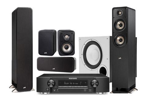 Polk Audio S-serie 5.1 surround højttalersæt inkl. Marantz NR1510 receiver, sort