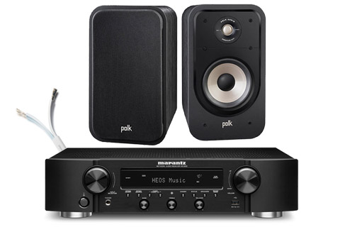 Polk Audio Polk S20e shelf speakers and Marantz NR1200, black,  1 system
