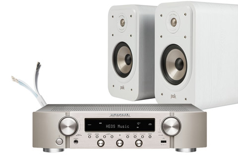 Polk Audio Polk S20e shelf speakers and Marantz NR1200, white,  1 system
