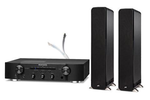 Polk Audio S55e floorstanding speakers, incl. Marantz PM6007, black