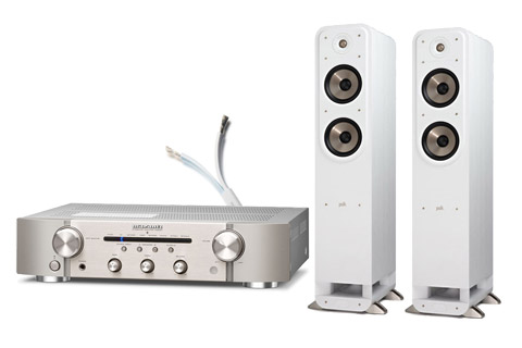 Polk Audio S55e floorstanding speakers, incl. Marantz PM6007, white/silver