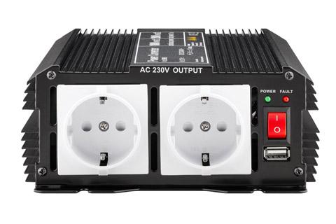 12V - 230V~ Power inverter, Schuko, 1000W - Front