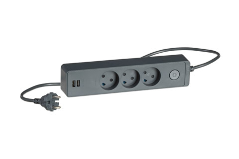 Lk Design 230V 3-way power strip with 2 USB ports and without ground - Black
