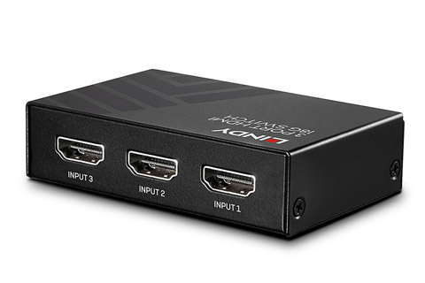 Lindy 3 Port HDMI 2.0 switch med HDR, sort