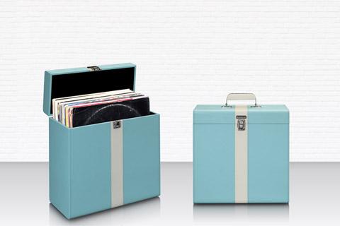 Lenco TTA-300BUWH Record storage suitcase, max. 30 records -  Blue