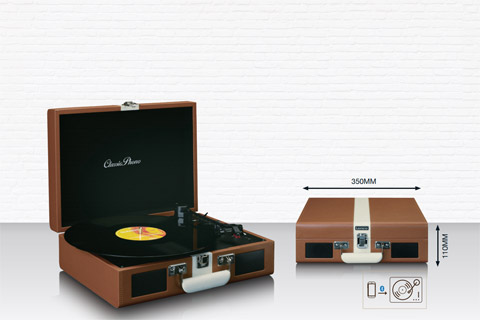 Lenco TT-120 retro turntable with speaker and Bluetooth and battery