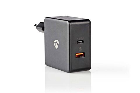 Nedis 2-way USB-C/USB-A charger (3A/30W) - Black