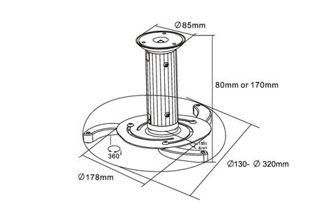 InLine universal projector ceiling bracket - Data