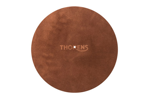 Thorens platter mat in leather, brown
