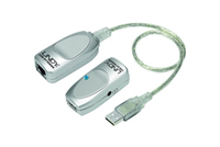 Simpel USB 1.1 forlængersæt op til 50 meter via netværkskabel efter eget ønske.