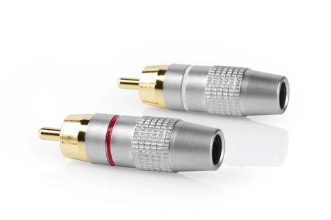 Phono han stik sæt til 3-6 mm. kabel, guldbelagt (1x Hvid, 1x Rød)