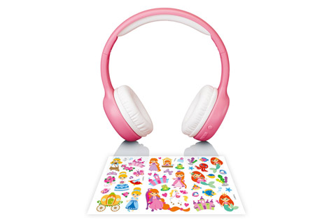 Lenco HPB-110 foldable kids Bluetooth headphone - Pink witch stickers
