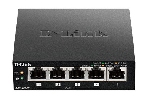 D-Link DGS-1005P/E Netværks Gigabit Switch, 5 Port, POE+
