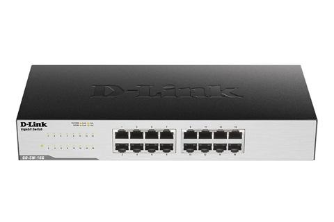 D-Link GO-SW-16G/E Netværks Gigabit Switch, 16 Port, 10/100/1000 Mbps, front