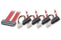 SAS kabel fra Multilane SFF-8484 stik til 4 stk. SFF-8482 + Molex strømstik. Benyttes for tilslutning af SAS harddiske til en controller.