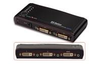 Forbind op til 4 DVI apparater til en DVI monitor med denne DVI switch. Understøtter en opløsning på op til 1080p.