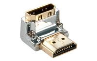 Lille og smart HDMI vinkel adapter fra Lindy udført i krom. Denne 270 graders adapter går kun ca. 1,3 cm. ud fra apparatet når den er monteret.