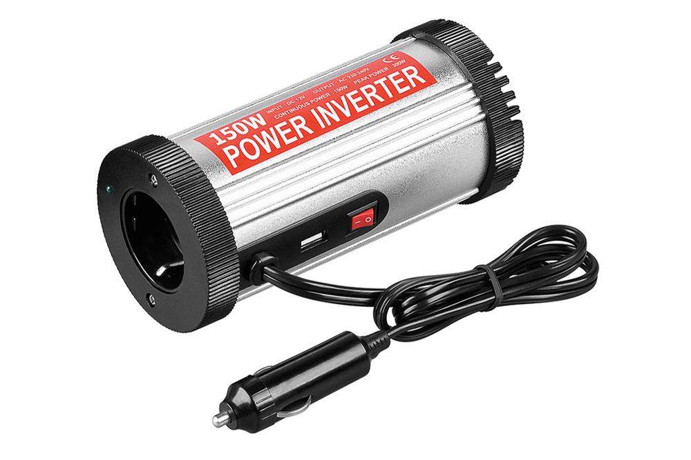 Inverter der omformer 12V spændingen i bilen eller campingvognen til 230V~ AC spænding samt USB opladning. Inverteren kan levere op til 150W.