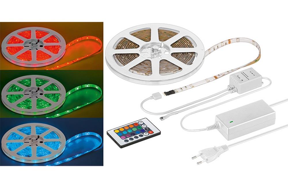 Plug & Play farve LED bånd med fjernbetjening så farvevalg kan fortages nemt og bekvemt.  Vandtæt til 5 meter (IP44 godkendt).