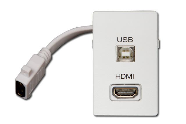 AV vægdåse til FUGA, HDMI, USB-B