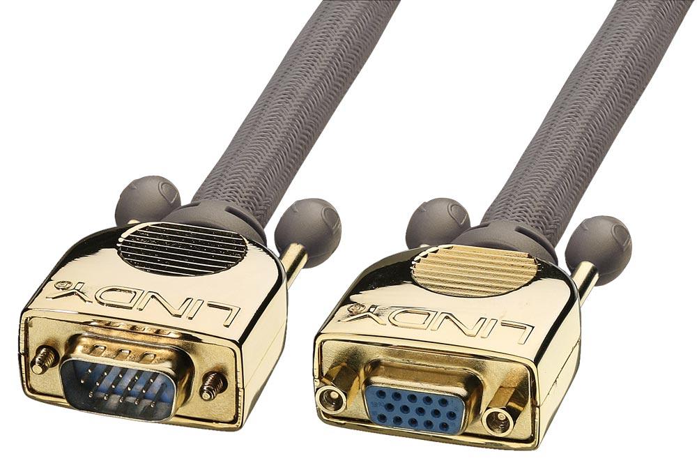 Kraftigt skærmet kvalitets VGA/XGA forlængerkabel med indbygget støjdæmpning i stikkene, der sikrer høj kvalitet og minimalt tab over lange distancer.