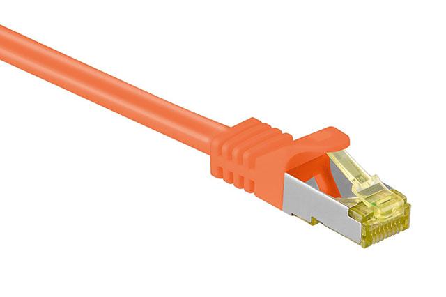 Orange CAT 7 S/FTP skærmet netværkskabel med kvalitets kobberleder til højhastigheds netværksforbindelser, TV boks eller andet IT udstyr.