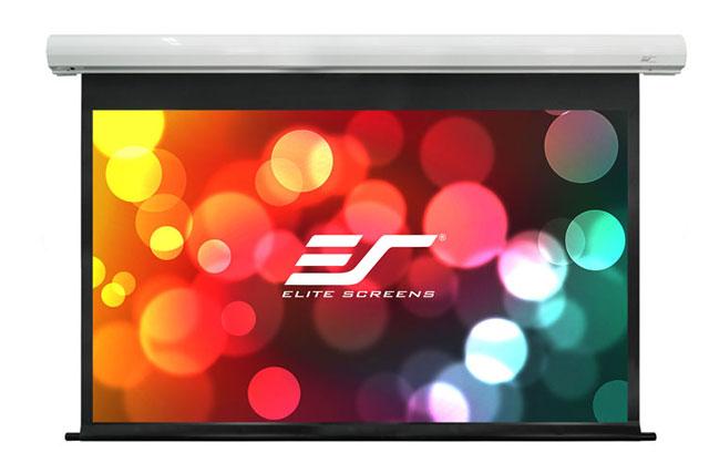 Billigt motoriseret lærred fra Elite Screens i overraskende god kvalitet, med 1.1 gain glasfiber dug og trådløs IR/RF fjernbetjening.