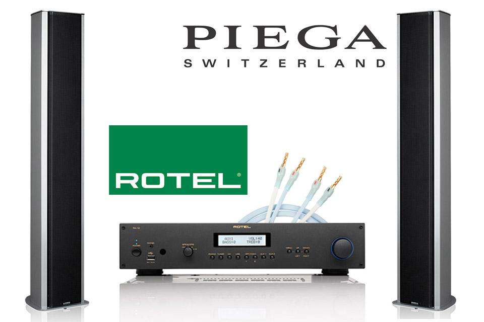 Komplet High-end stereo anlæg med den nye Rotel A12 forstærker, lækre design højttalere fra Piega og Supra PLY højttalerkabelsæt.