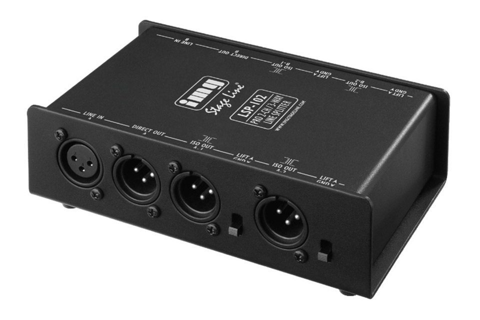 2-channel 3-way balanced XLR line splitter, (2 inputs/6 outputs), e.g. for connecting one mixer to several amplifiers.