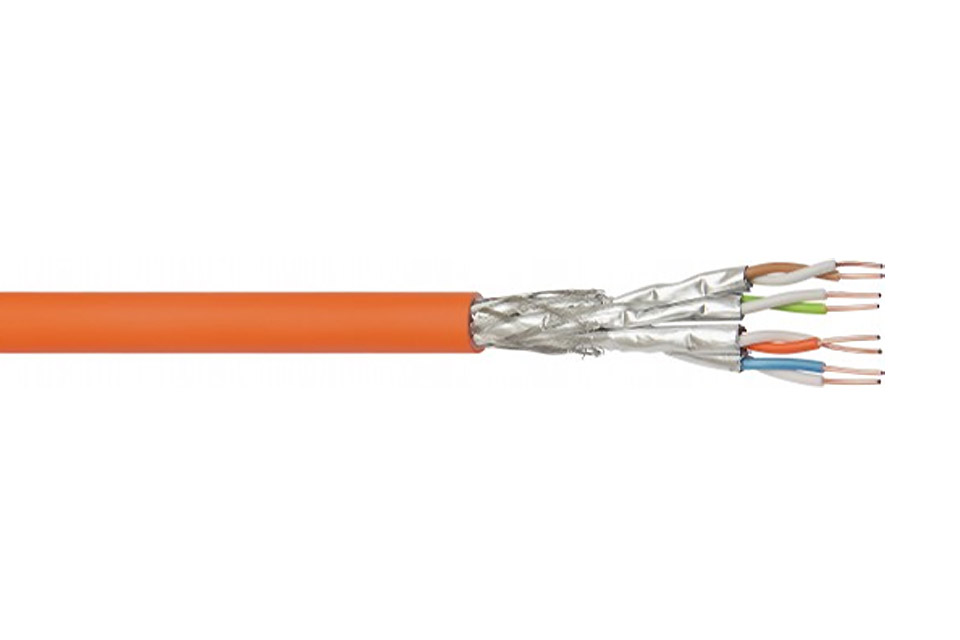 cat 7a s ftp network cable 4x2xawg23 1 cu solid lszh orange meter. Black Bedroom Furniture Sets. Home Design Ideas