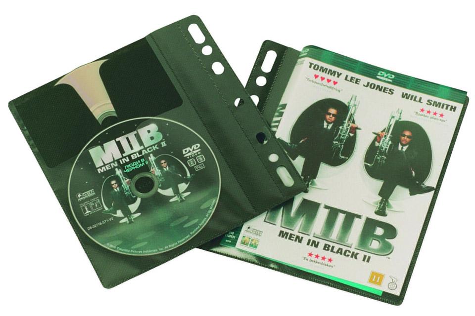 Smarte lommer/covers til DVD- eller Blu-ray film til let montering i ringbind. Leveres i pakker a´ 25 stk. eller mere.
