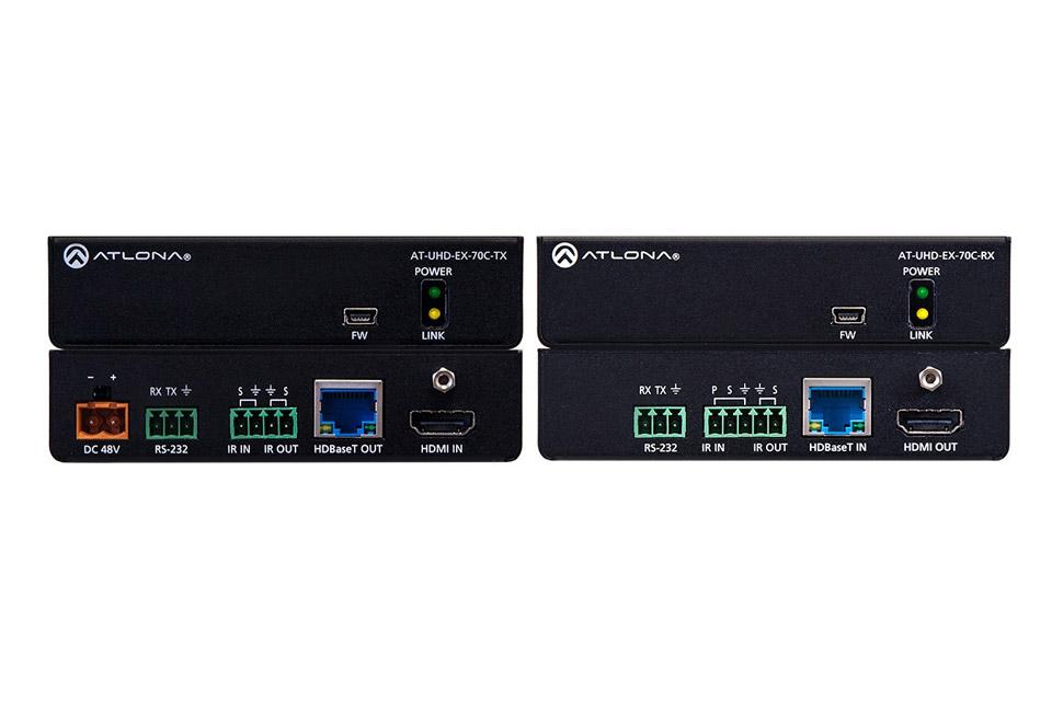 Proffessionelt HDMI forlængerkit med POE der gør det muligt at forlænge et 4K/UHD signal op til 70 meter. Kan også forlænge RS-232 og et IR signal.