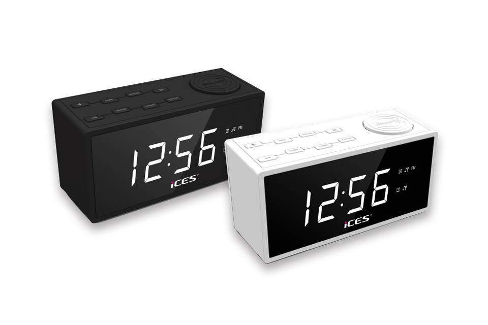 Smart, stilren clock radio med stort, tydeligt 1.2