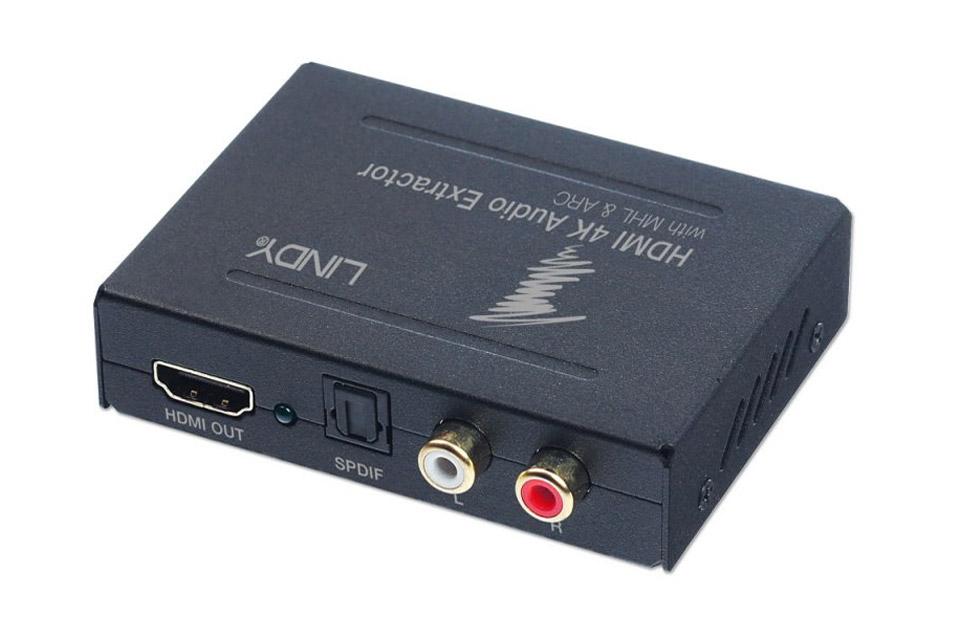 Lindy HDMI 4K Audio Extractor med ARC og MHL der gør det muligt at trække digital lyd ud af et HDMI ARC signal fra et TV.
