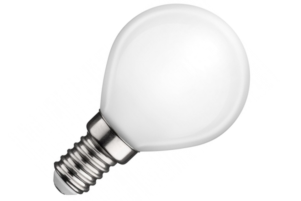 Mat LED pære med samme fysiske mål som en normal glødepære og en perfekt erstatning for en alm. 25-30W glødepære med lille fatning (E14)