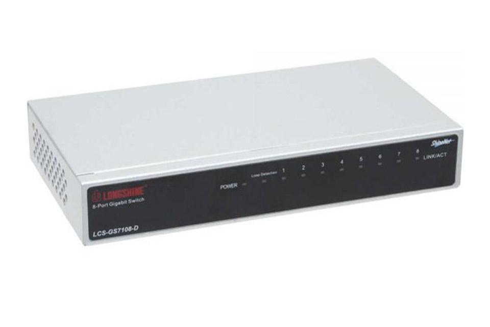 8 ports netværks Gigabit switch (10/100/1000 Mbps) i metalhus som gør det muligt at tilslutte flere computere eller enheder til samme LAN netværk.