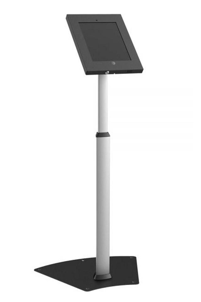 Billig iPad gulvstander med tilt og justerbar højde, passer til iPad 2/3/4, Air 1 og 2. Hjemmeknappen er synlig, for fri betjening. Med sikkerhedslås.