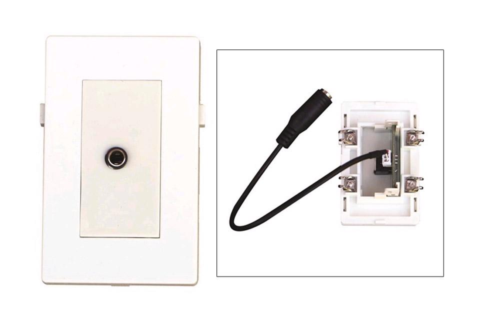 MiniJack vægdåse til Fuga installationsdåser/underlag.
