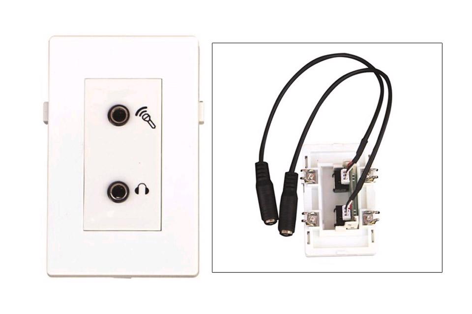Dobbelt MiniJack vægdåse til headsets, til Fuga installationsdåser/underlag.