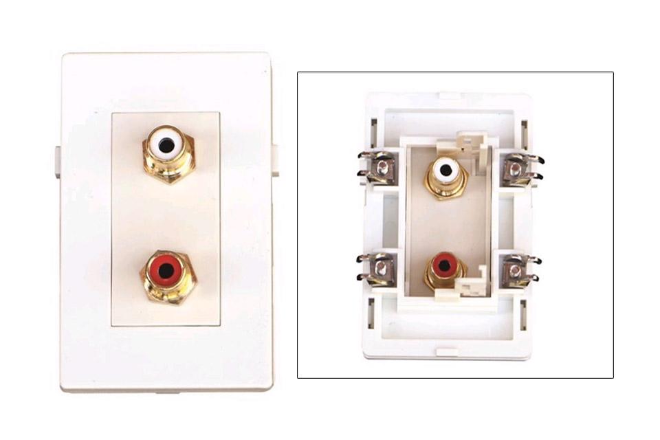 Stereo phono vægdåse til Fuga installationsdåser/underlag.