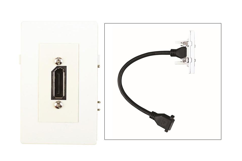 Displayport vægdåse til Fuga installationsdåser/underlag.