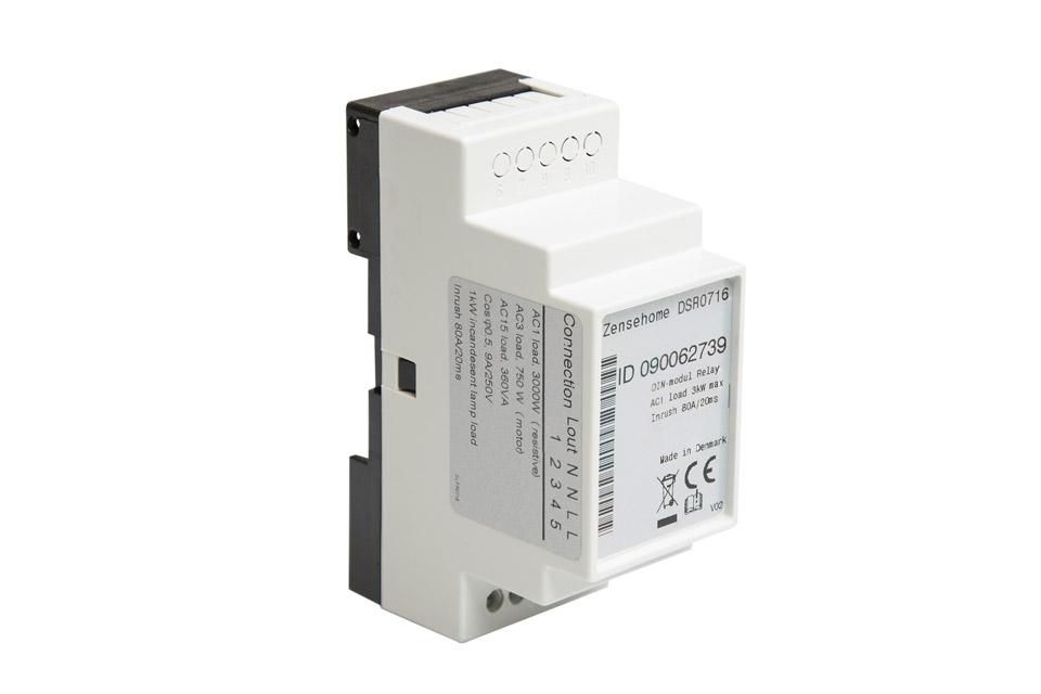 DIN-modul med 13A relæ udgang som benyttes til at styre en 230 VAC lampe, motor el. lign. Modulet skal anvendes i forbindelse med andre Zense-enheder.