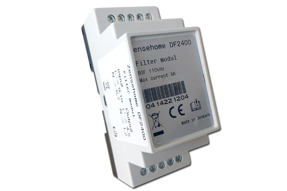 Zensehome DF2400 DIN-modul støjfilter 5A for isolering af lyskilder eller apparater, kan forstyrre Zensehome systemets kommunikation.