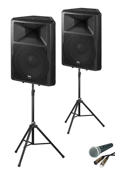 Lej et musikanlæg med rigelig mulighed for at holde en rigtig fest. Aktivt højttalersystem med kabler, Bluetooth og mikrofon.