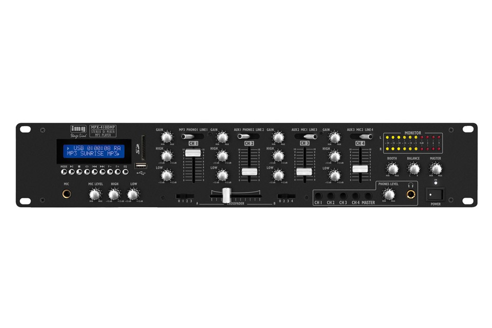 Stereo DJ mixer with integrated MP3 player and Bluetooth receiver.