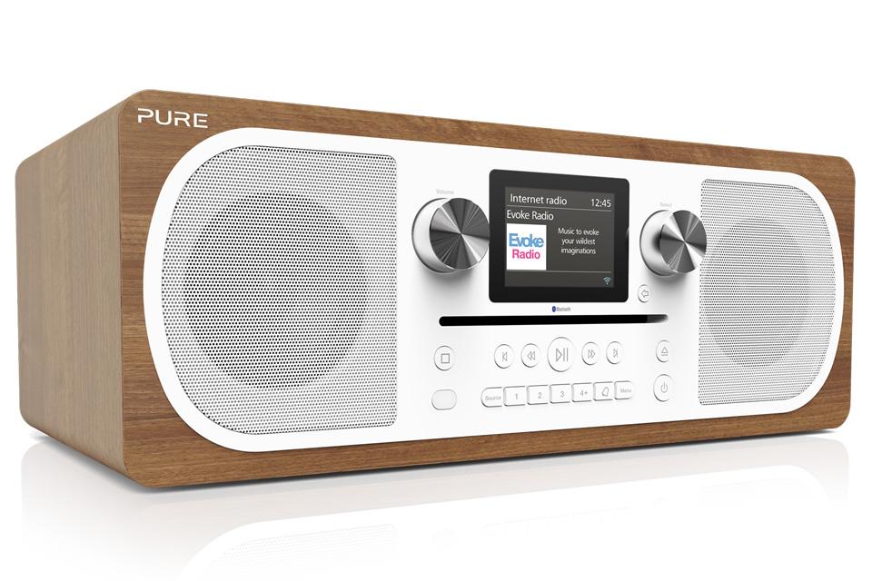 Pure Evoke C-F6 er et stereo alt-i-et-musiksystem med Internet-, DAB digital- FM-radio, Bluetooth, CD og Spotify Connect samt mulighed for app-styring