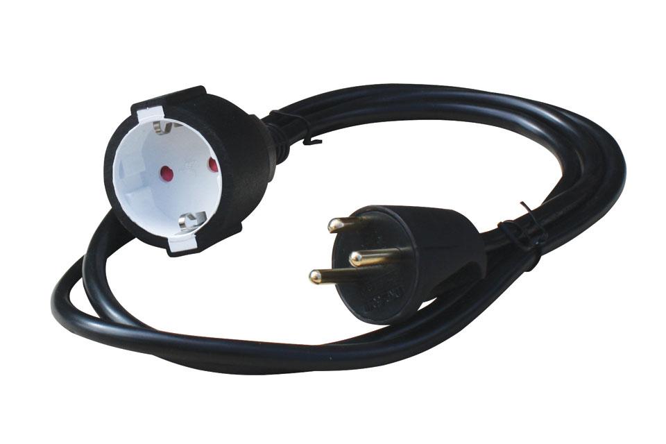 Smart adapter strømkabel for tilslutning af 230V apparater med Schuko europærisk strømstik til danske stikkontakter med jordben.