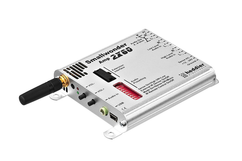 Ultra-compact rack-mount amplifier, 2 x 60 WMAX, with Bluetooth reciever.