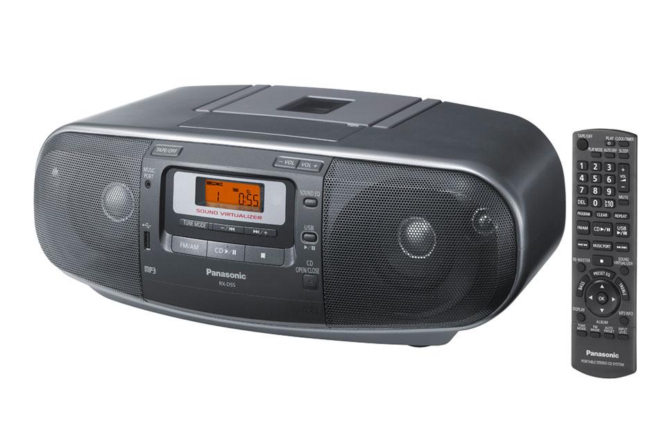 Kraftfuld ghettoblaster med CD, kassette, radio, USB og en udgangseffekt på 20W. Panasonic RX-D55 kan også køre på batteri.